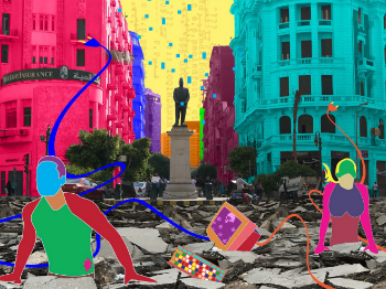 Cover image in many colours, showing a scene from a city environment