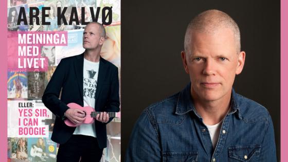 """Portrett av Are Kalvø og bokomslag av """"Meininga med livet""""."""