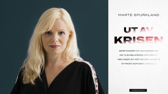 """Portrett av Marte Spurkland og bokomslag av """"Ut av krisen""""."""