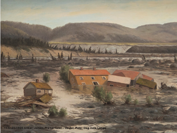 Image contains: Painting of buildings taken by flood