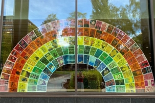 Rainbow, book covers, window,