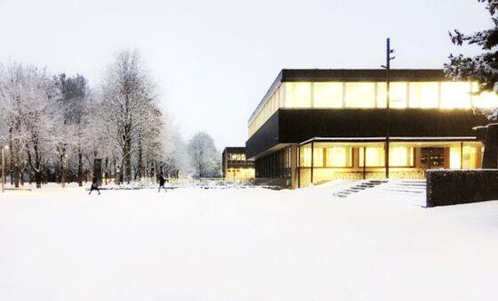 campus, Blindern, vinter, snø, bibliotek