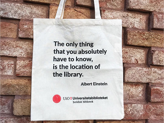 tote bag with an Einstein quote